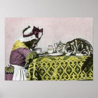 La fiesta del té del Victorian del vintage para Póster