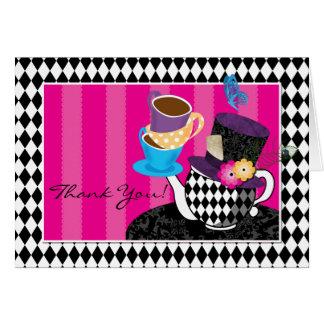 La fiesta del té enojada del sombrerero le agradec tarjeta pequeña