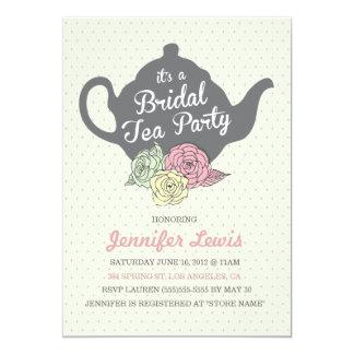 La fiesta del té nupcial invita invitación 12,7 x 17,8 cm