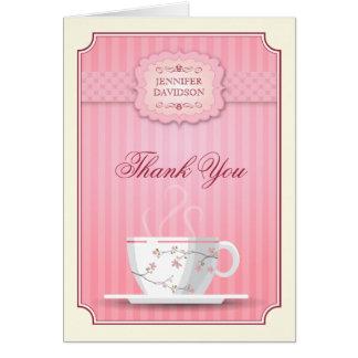 La fiesta del té nupcial rosada de la ducha le tarjeta pequeña