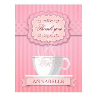 La fiesta del té nupcial rosada de la ducha le tarjetas postales