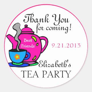 La fiesta del té rosada le agradece pegatina redonda