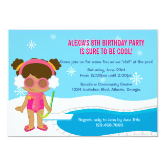 La fiesta en la piscina del invierno invita invitacion personal