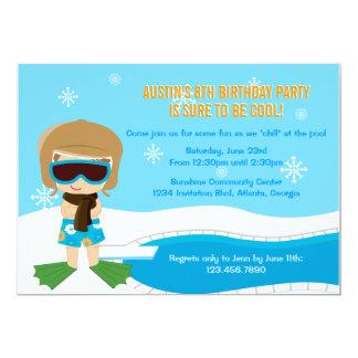 La fiesta en la piscina del invierno invita anuncio personalizado