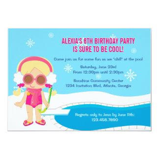 """La fiesta en la piscina del invierno invita invitación 5"""" x 7"""""""