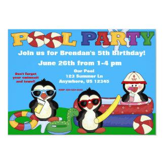 La fiesta en la piscina embroma la invitación del invitación 12,7 x 17,8 cm
