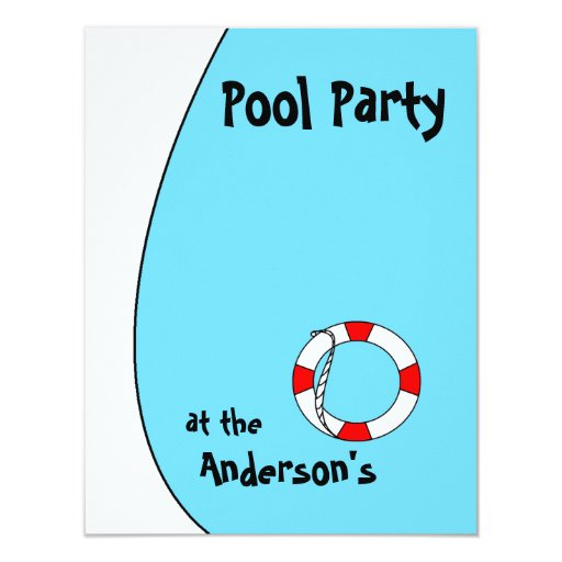 """La fiesta en la piscina invita invitación 4.25"""" x 5.5"""""""