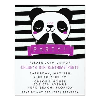 """La fiesta linda púrpura y negra del chica de la invitación 4.25"""" x 5.5"""""""