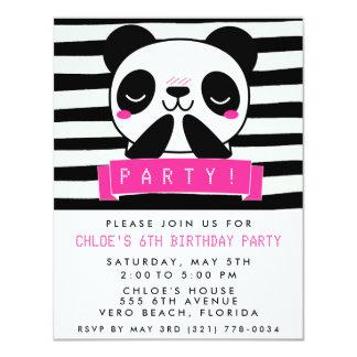 """La fiesta linda rosada y negra del chica de la invitación 4.25"""" x 5.5"""""""