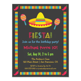 """La fiesta mexicana colorida embroma a la fiesta de invitación 4.25"""" x 5.5"""""""