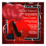 La fiesta negra y roja de la mujer de los tacones  invitación personalizada