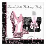 La fiesta rosada y negra de la mujer de cumpleaños anuncio personalizado