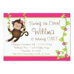 La fiesta rosada y verde del mono de la MOD de Comunicado Personalizado