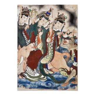"""La figura del buey de la pintura de pared china invitación 3.5"""" x 5"""""""