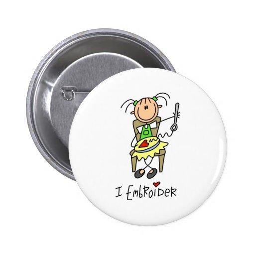 La figura del palillo borda el botón pins
