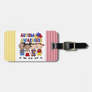 La figura del palillo embroma conciencia del autis etiquetas para equipaje
