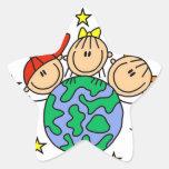 La figura del palillo protege nuestras camisetas y pegatina forma de estrella personalizada