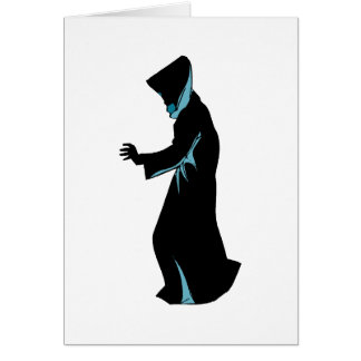 La figura encapuchada del lado distribuye tarjeta pequeña