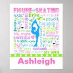 La figura patinador en colores pastel póster