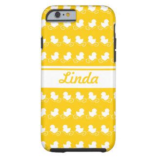 la fila del blanco ducks el iPhone amarillo 6 Funda De iPhone 6 Tough