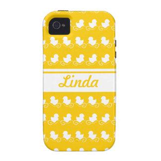 la fila del blanco ducks la casamata amarilla del  iPhone 4 carcasa