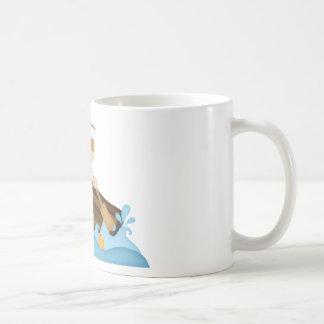 La fila, rema a su barco-marinero taza básica blanca