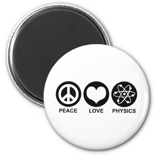 La física del amor de la paz imanes para frigoríficos