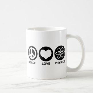 La física del amor de la paz tazas de café