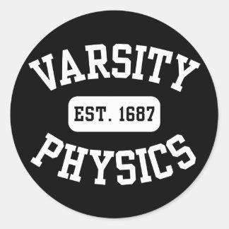 La física del equipo universitario pegatina redonda