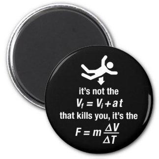 la física - es la desaceleración súbita que mata imán redondo 5 cm