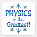 La física es la más grande pegatina cuadradas personalizada