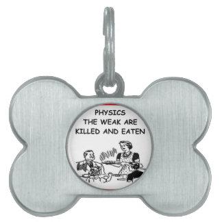 la física placa de nombre de mascota