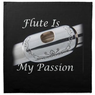 La flauta es mi pasión para la cena de la cocina servilletas imprimidas