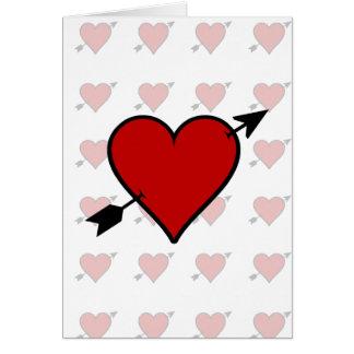 La flecha perforó el corazón tarjeton