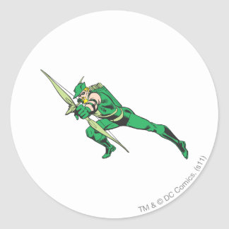 La flecha verde se agacha pegatinas redondas