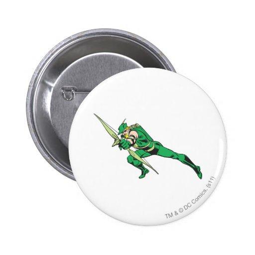 La flecha verde se agacha pin redondo 5 cm