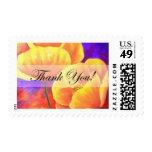 La flor amarilla de la amapola le agradece cardar sello