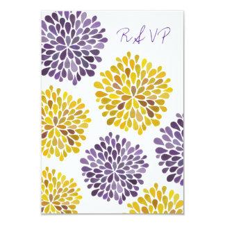 """La flor amarilla púrpura de RSVP florece Invitación 3.5"""" X 5"""""""