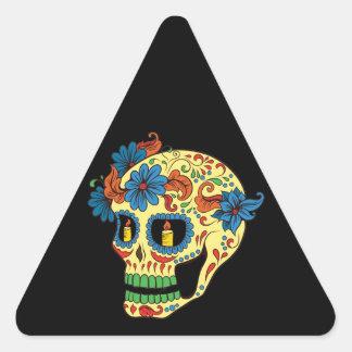 La flor azul observa el día del cráneo muerto del pegatina triangular