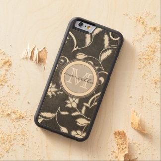 La flor blanca negra remolina monograma funda de iPhone 6 bumper arce