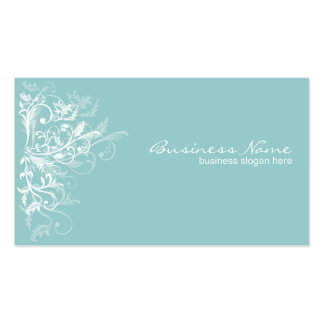 La flor blanca retra elegante remolina turquesa tarjeta de visita