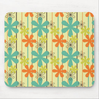 La flor bonita gotea el arte Brown verde anaranjad Mouse Pads