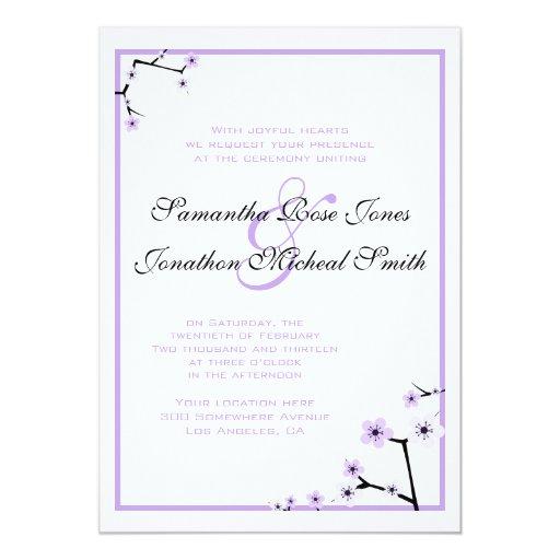 """La flor de cerezo blanca púrpura florece el boda invitación 5"""" x 7"""""""