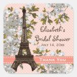 La flor de cerezo de la torre Eiffel le agradece f Pegatina