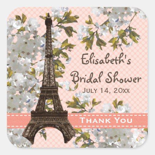 La flor de cerezo de la torre Eiffel le agradece Pegatina Cuadrada