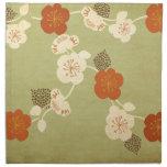 La flor de cerezo del vintage florece al americano servilleta imprimida