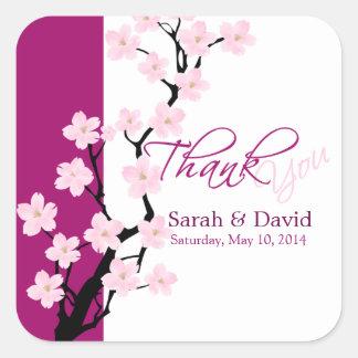 La flor de cerezo el | que se casa le agradece calcomanía cuadradas personalizadas