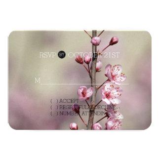 """La flor de cerezo florece casando RSVP Invitación 3.5"""" X 5"""""""
