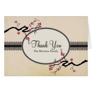 La flor de cerezo japonesa del vintage le agradece tarjeta pequeña
