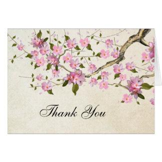 La flor de cerezo japonesa rosada le agradece tarjeta pequeña